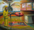 WATER CANNON AT BATTLESHIP COVE, 50.5 x 57in, oil on canvas, 2012 6000