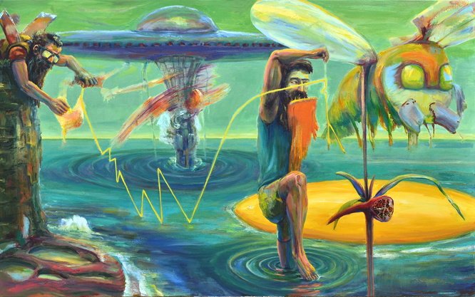 CREATING A WORLD WORTHY OF AN ALIEN VISITATION, 60x96CREATING A WORLD WORTHY OF AN ALIEN VISITATION, 60x96in, oil on canvas, 2014, Thomas Whittaker Kidd, oil on canvas, 2014, Thomas Whittaker Kidd 9000